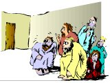 Jesus` disciples locked in the upper room afraid