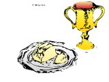 Communion plate with loaf, and chalice