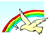 Dove of peace with a rainbow