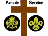 Parade Service. Scout and Guide symbols with the cross