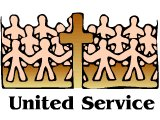 United Service, with people holding hands around the cross