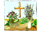 Harvest food display with the cross