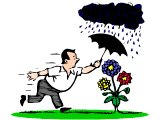 A gardener running to hold an umbrella over his prized flowers