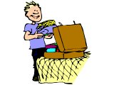 A youth packing for holiday