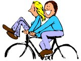 Two riding a bike