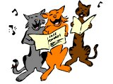 Cats holding song sheets and singing