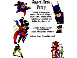 A poster for a `Super Hero party` (an alternative to Halloween`)