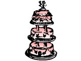 A three-tier wedding cake