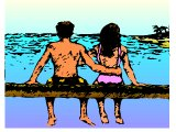 Man & woman, arm in arm, on sea-side holiday