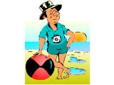 Man posing with a beach ball by the sea