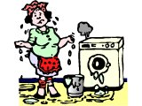 Woman giving up, with a leaking, broken washing machine