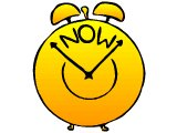 Alarm clock saying `Now`