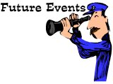 Man looking through telescope at `Future Events`