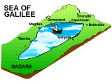 Topographical map of the Sea of Galilee and towns around