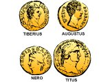 Heads of Caesar Augustus, Tiberius, Titus and Nero on their coins
