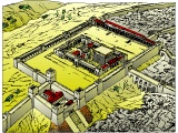 Herod`s Temple in Jerusalem in the days of Jesus, from the NW