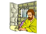 Paul in prison, writing a letter