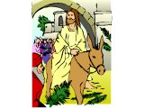 Jesus riding into Jerusalem on a donkey on Palm Sunday