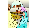 Mary sitting at Jesus` feet while Martha works