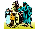 Jesus` disciple pushing away children