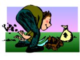 The man burying his money (Talents) in the ground