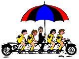 A bicycle for five, with a large umbrella. Symbol for community ecology.
