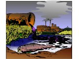 Industrial effluent, killing fish and polluting a river