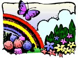 Nature scene with rainbow and butterfly