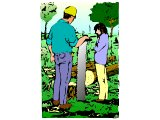 Two men surveying a felled tree