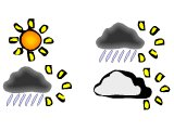 Weather symbols for sun, showers and cloud