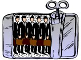Men in business suites, squashed together in a row in a sardine can