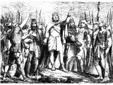 David rejoicing with his `Mighty Men` at a victory over his enemies