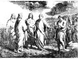 Elisha prophesying before Jehoshaphat and two other kings