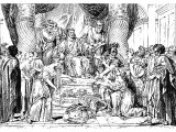 The judgement of Solomon (Engraving based on a picture by A Coypel)