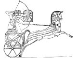 Egyptian war chariot, soldier with bow, soldier with shield