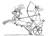 Egyptian war chariot, soldier with bow