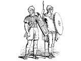 Roman soldiers with shields, spear and sword