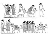 Hebrews, as seen an Egyptian tomb. They all wear clothing of bright and varied colours.