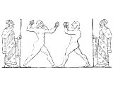 Greek boxing. Contestants wore the cestus on their hands - a leather band studded with nails. - cf 1Cor.9.26