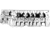Egyptian banquet, sitting on chairs at a table