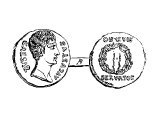 Denarius of Augustus. The Denarius was theoretically worth a little less than a drachma, but in practice they were equivalent.
