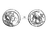 Denarius, silver, c 132 BC.   Left: &`;Rome&`;, and &`;*&`; indicating it is worth 10 copper coins, helmeted head of Minerva, goddess of Rome.