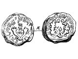 Half Shekel, copper, of Antigonus, the Greek name for Mattathias. Left: two cornucopiae &`;Mattathias the High Priest and the confederation of the Jews&`; (Hebrew). Right: wreath, &`;King Antigonus&`; (Greek)