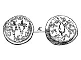 Quarter Shekel, copper, of Simon. Left: two thickly leaved branches, with a citron, &`;in the fourth year, one quarter&`;. Right: &`;Redemption of Zion&`;, a citron.
