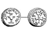 Shekel, silver, AD 68. Left: &`;Shekel of Israel&`;, pot of manna. Right: &`;Jerusalem the Holy&`;, Aaron&`;s rod