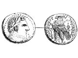Tetradrachm, silver (or Stater, worth 4 drachmas, equivalent to a Shekel), of Tyre, 46 BC.