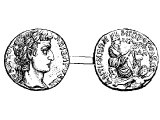 Tetradrachm, silver, (or Stater) of Antioch, AD 5. Left: &`;of Caesar Augustus&`;, bust of Augustus. Right: &`;of the metropolis of Antiocheans&`;, the female Genius of Antioch, her feet on the river god Orontes.