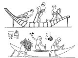 Egyptians building boats
