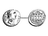 Herod Philip II the Tetrarch, Coin, bronze, of: Left: `of Caesar Augustus`, head of Tiberius. Right: `of Philip the Tetrarch`, four-columned temple