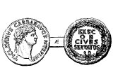 Claudius on a brass coin